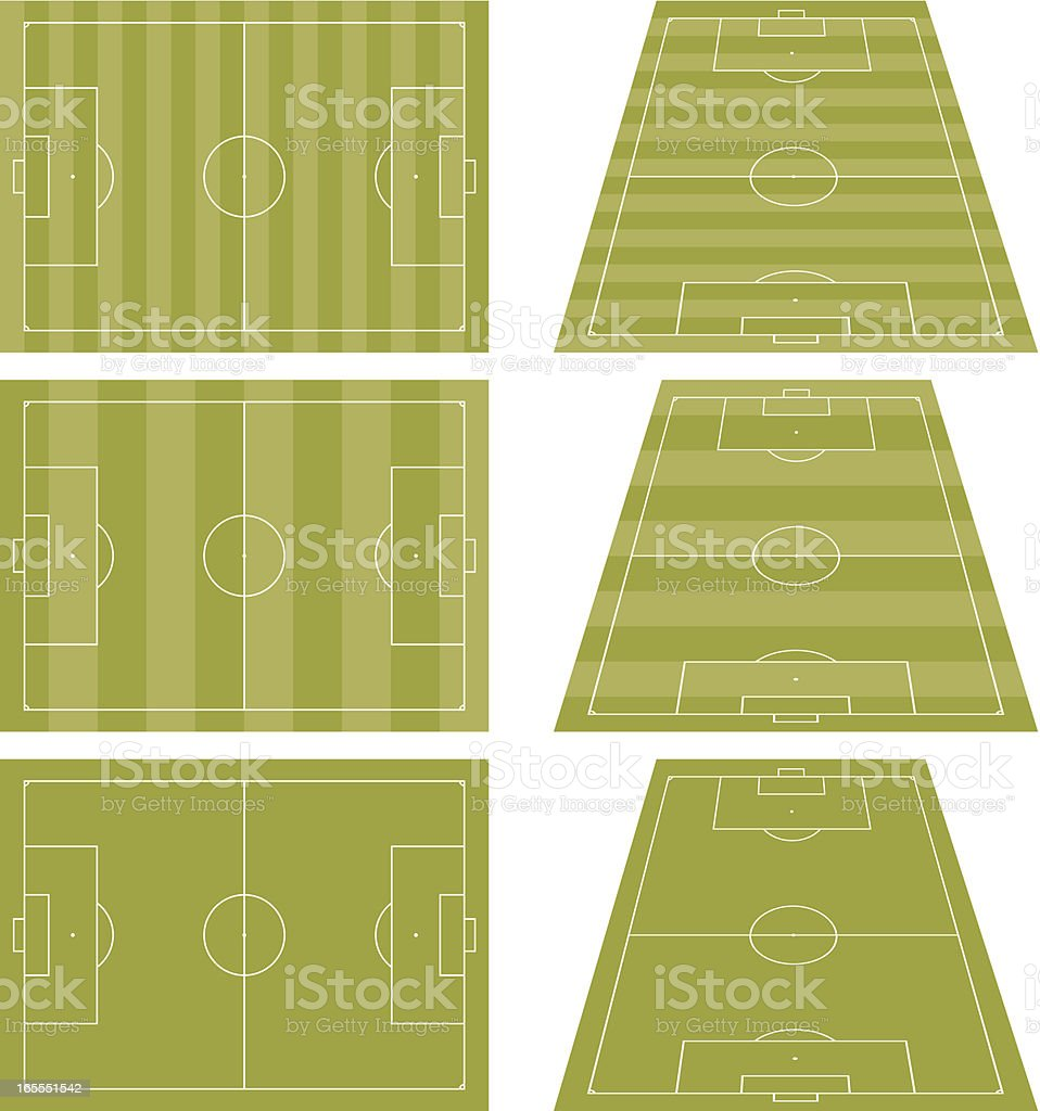 Soccer courts vector art illustration
