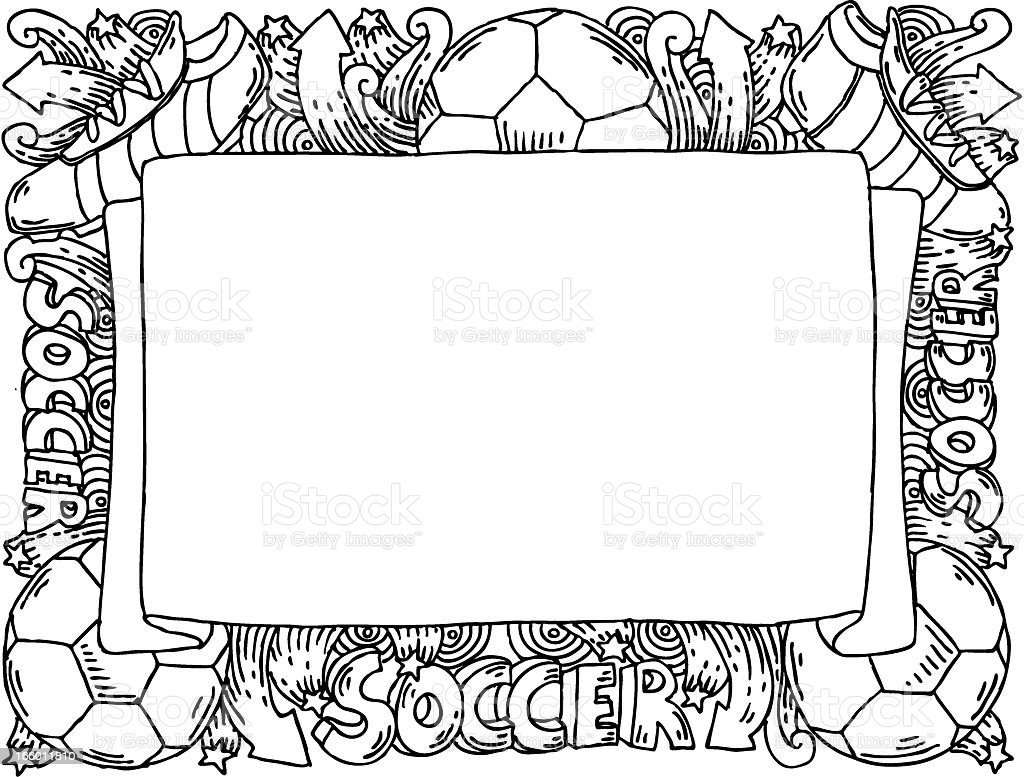 Soccer doodles banner royalty-free stock vector art