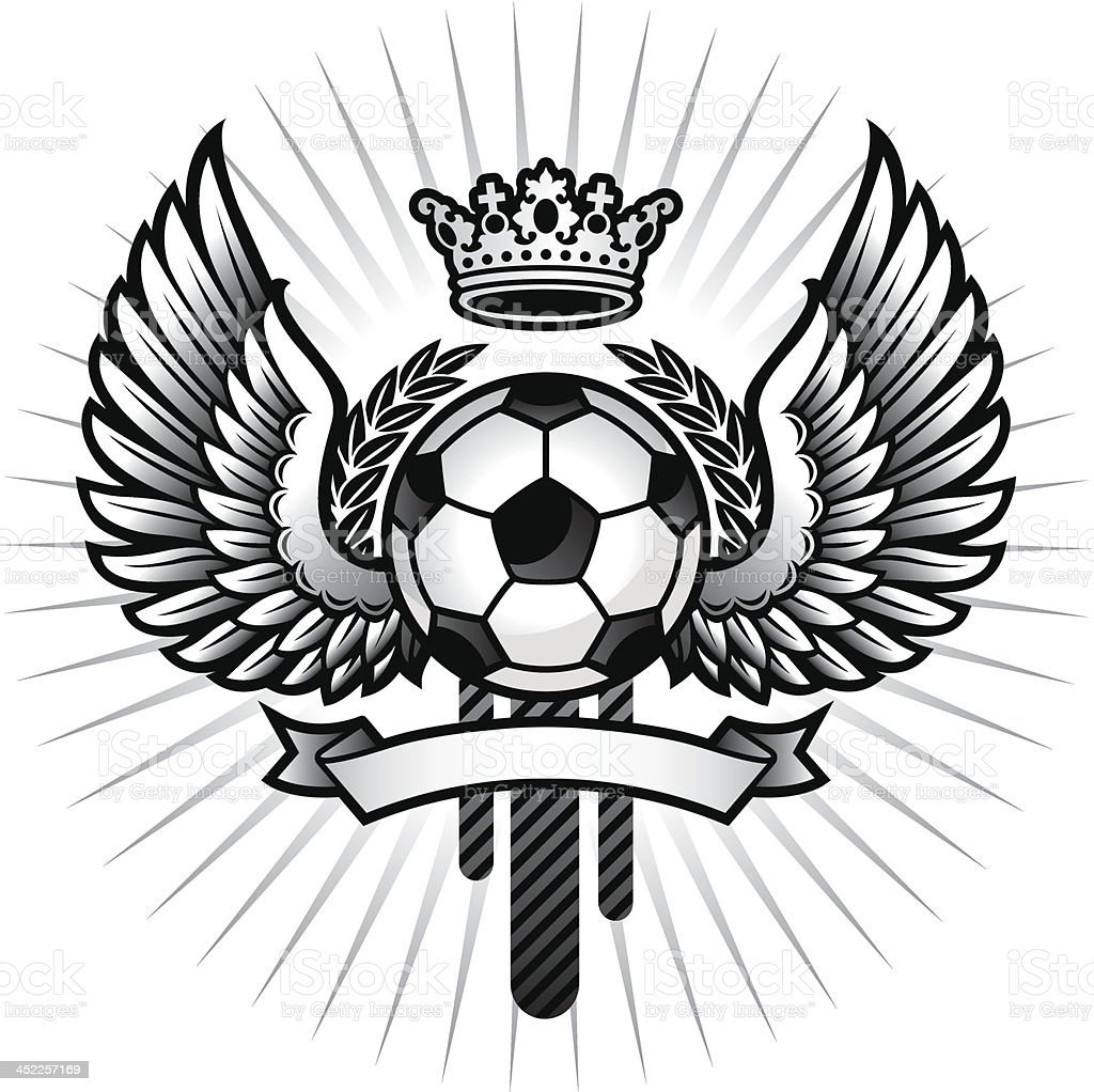 Soccer emblem with wings royalty-free stock vector art