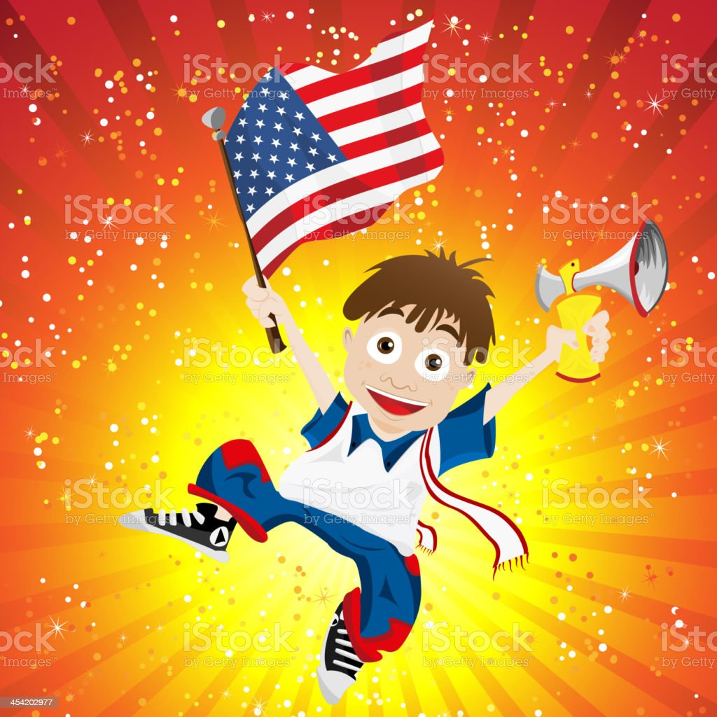 USA Soccer Fan Boy royalty-free stock vector art