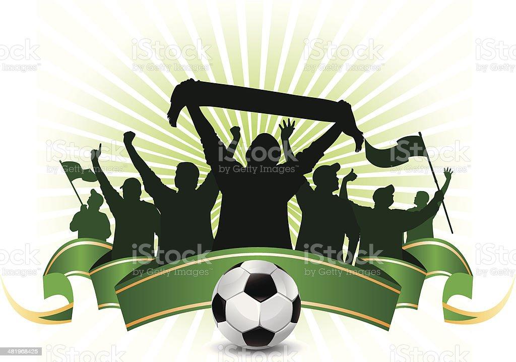 soccer fans vector art illustration
