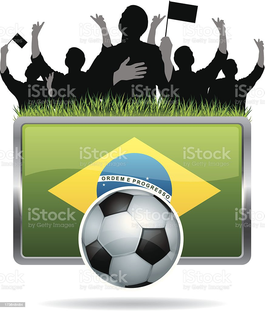 Soccer Fans with flag of Brazil royalty-free stock vector art