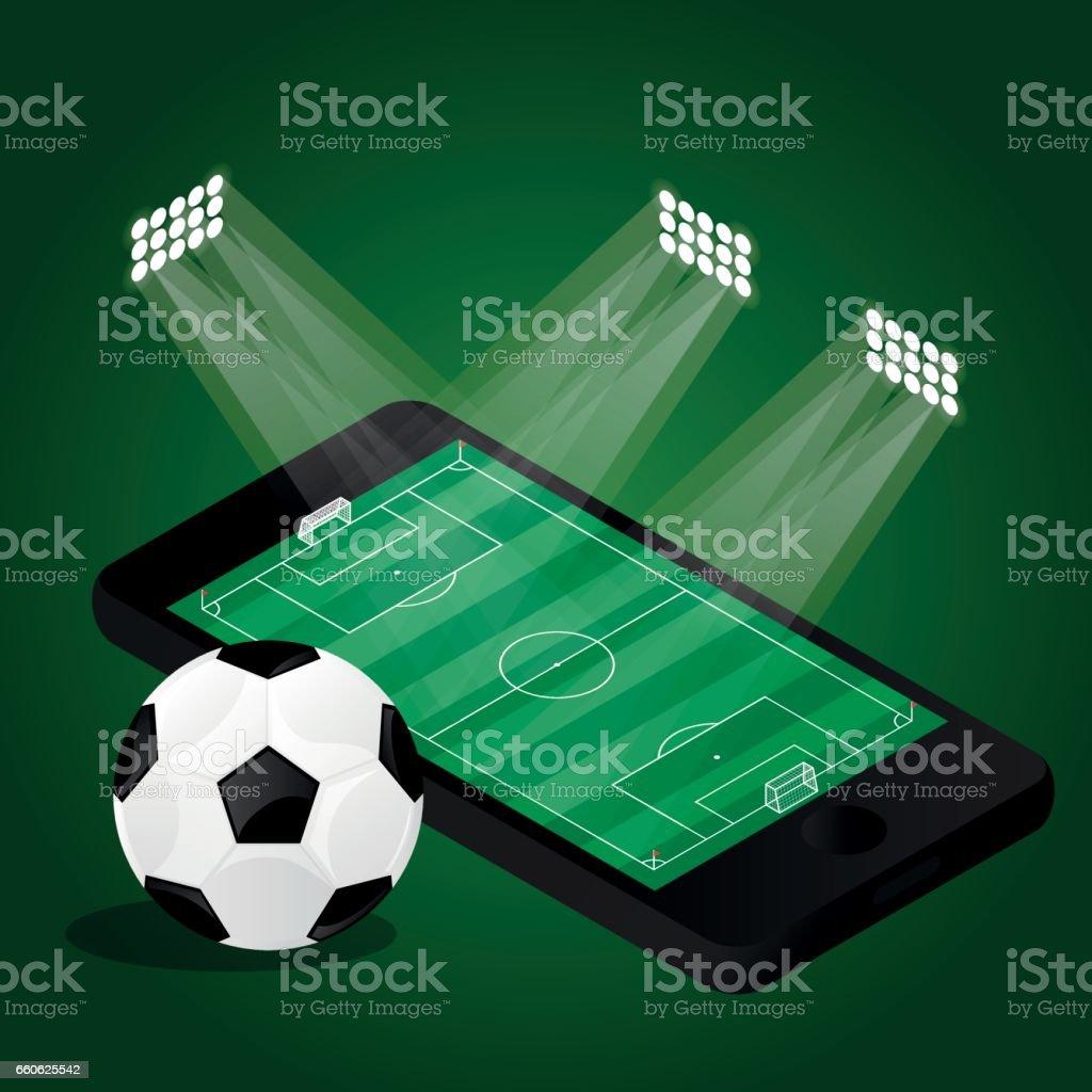 Soccer field and ball vector art illustration