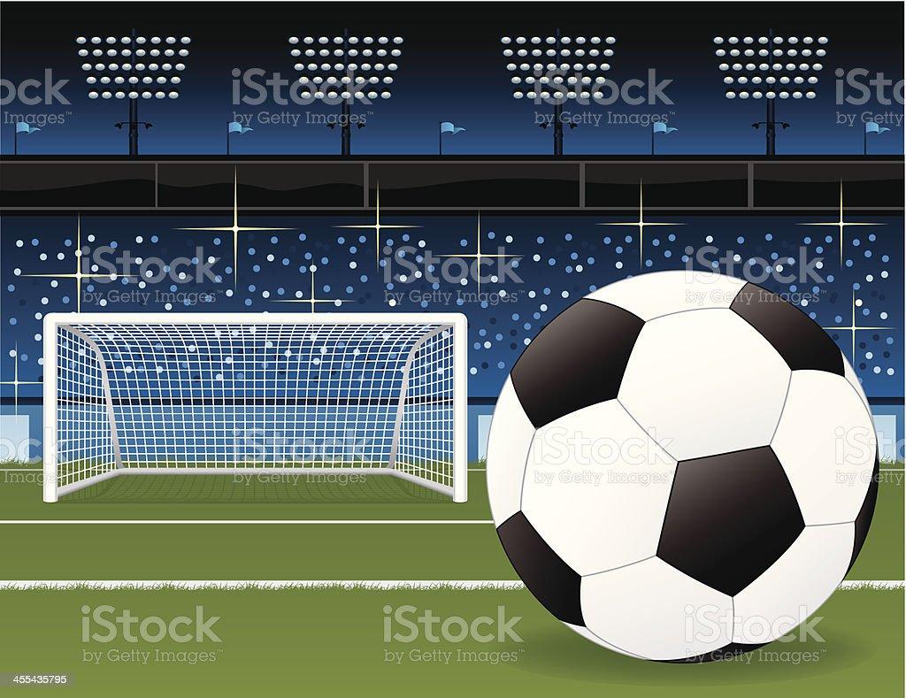Soccer Field, Ball and Stadium Vector Illustration royalty-free stock vector art