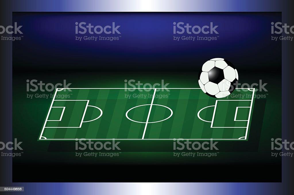 Soccer field on the television screen. vector art illustration