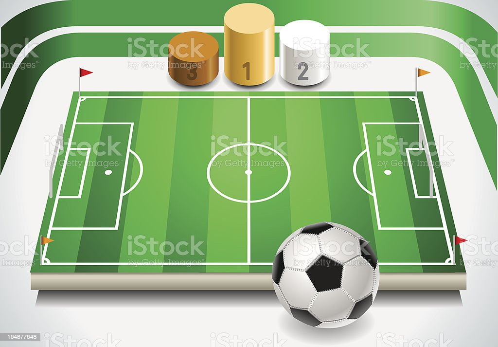Soccer Field with Ball and Podium royalty-free stock vector art