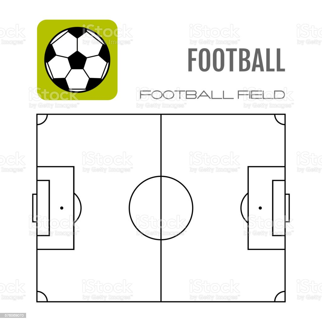 Soccer field with flat icon ball, football. Vector illustration vector art illustration