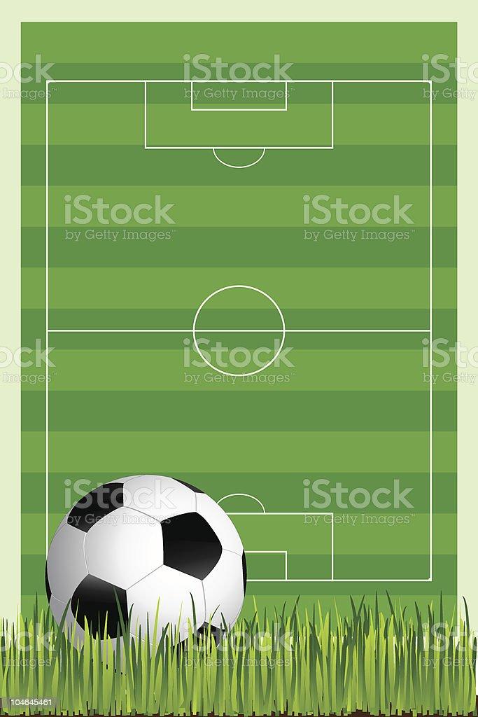 soccer field with football ball vector art illustration