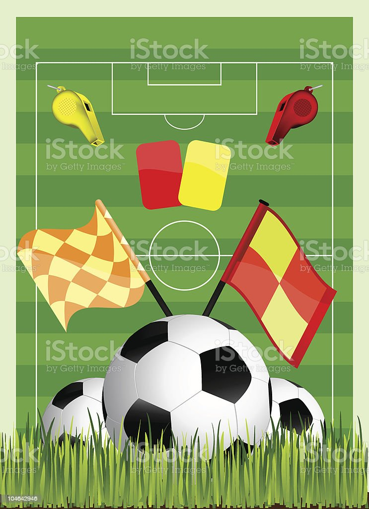 soccer field with green grass vector art illustration