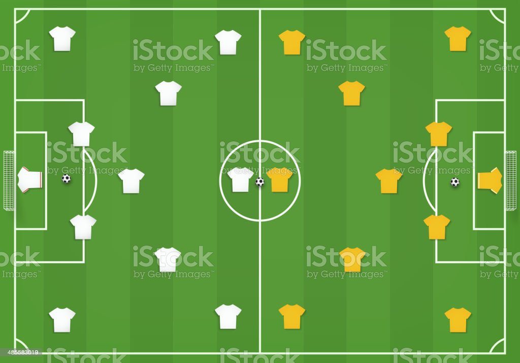 Soccer field with players, mock from top vector art illustration