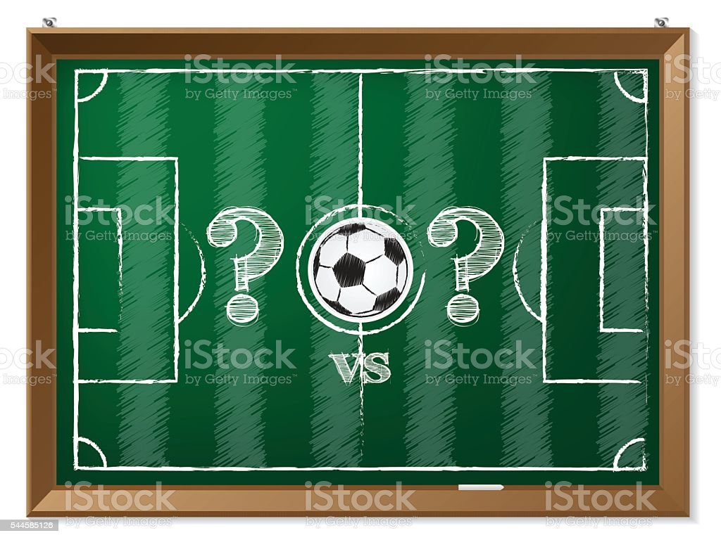 Soccer field with question mark vs question mark vector art illustration