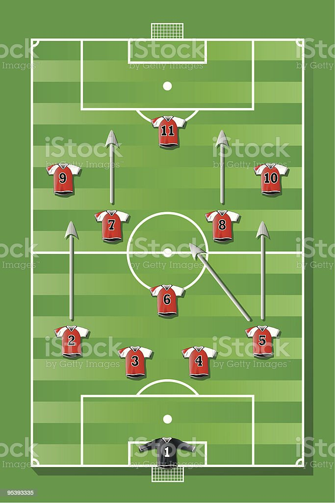 Soccer field with red team royalty-free stock vector art