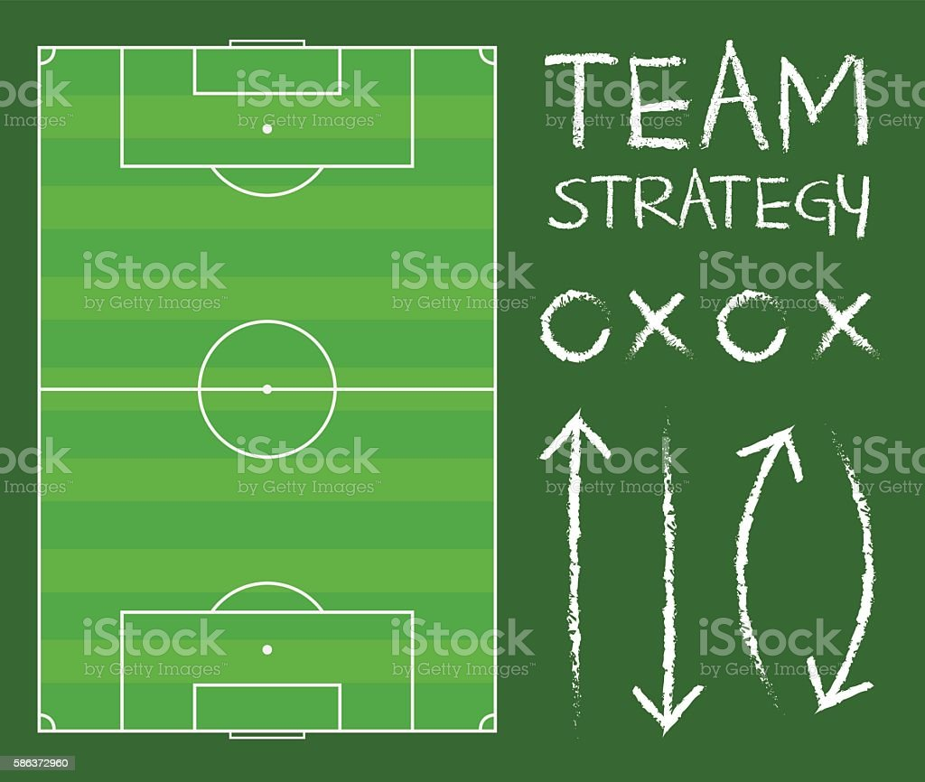 Soccer Field With Team Strategy Chart Vector vector art illustration