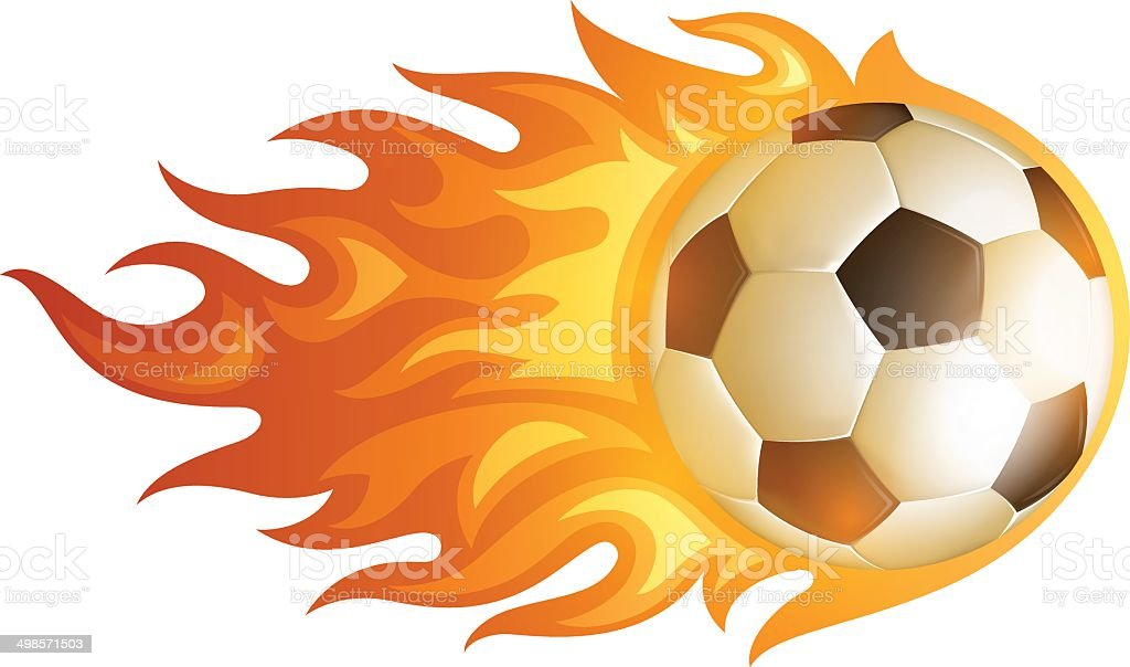 Soccer Flame Ball vector art illustration