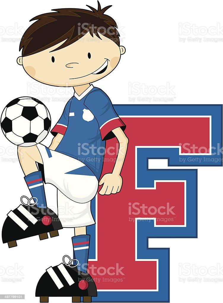 Soccer Football Boy Learning Letter F royalty-free stock vector art