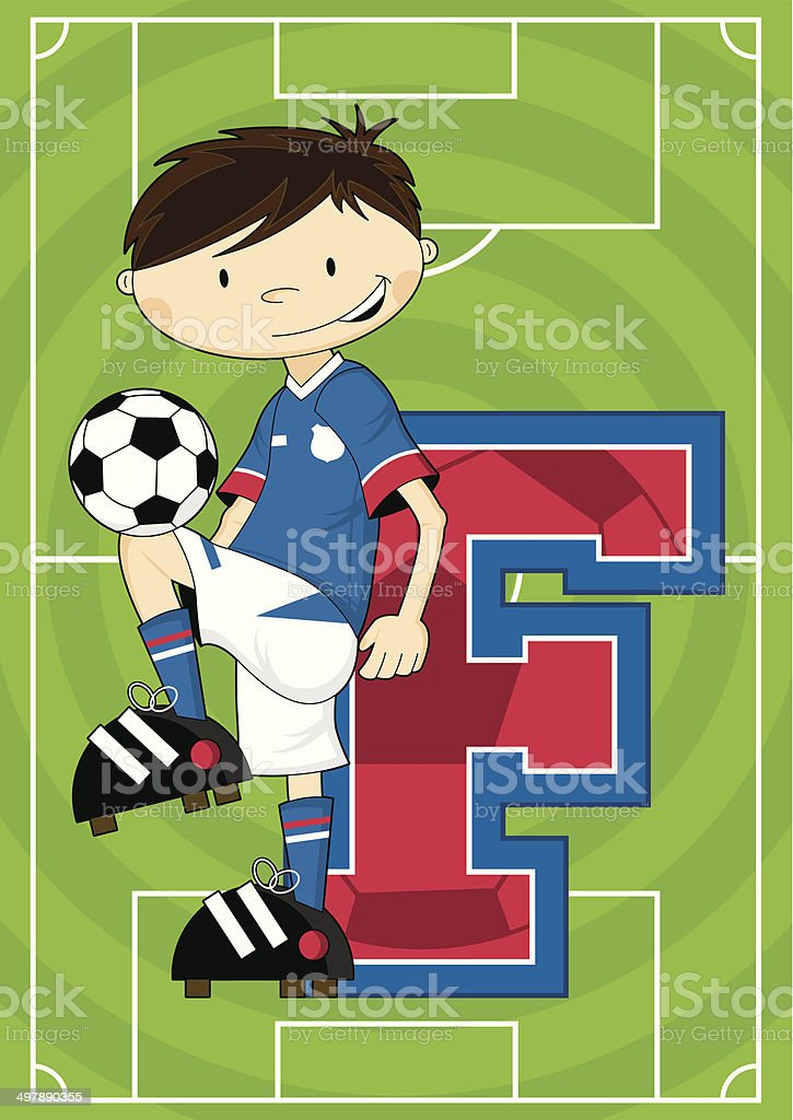 Soccer Football Boy Learning Letter F royalty-free stock vector art