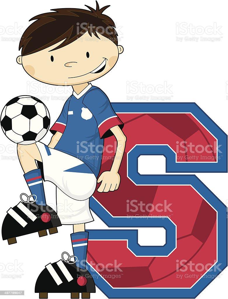 Soccer Football Boy Learning Letter S royalty-free stock vector art
