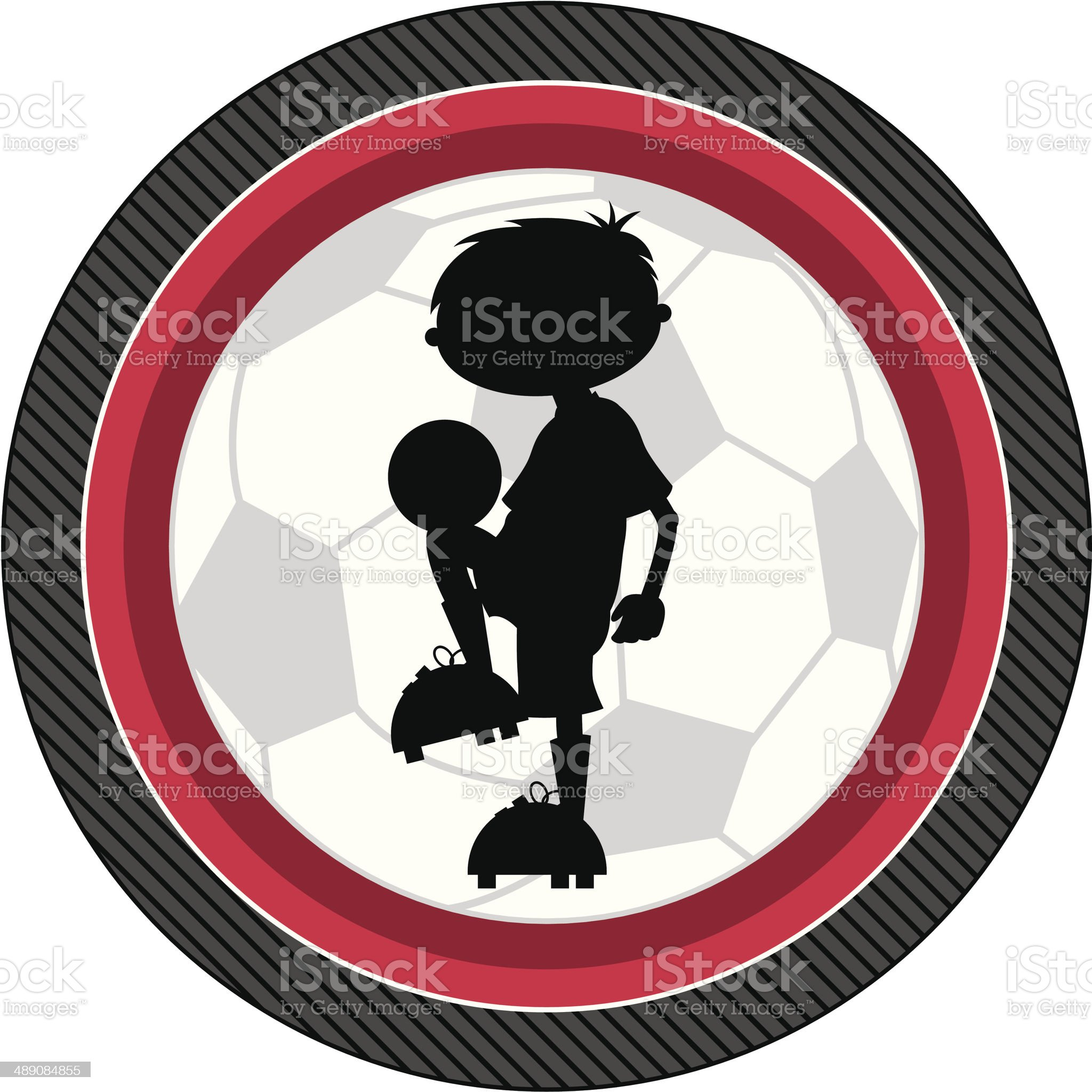 Soccer Football Boy Silhouette royalty-free stock vector art