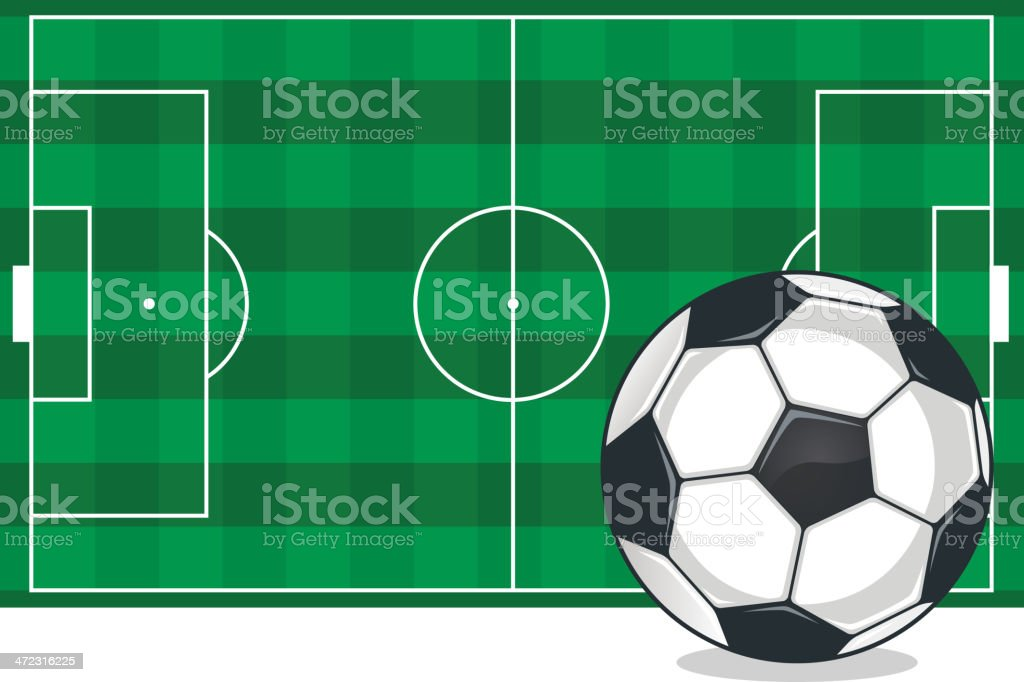 Soccer Football field with ball royalty-free stock vector art