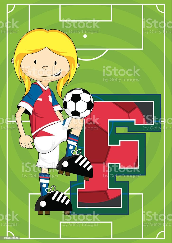 Soccer Football Girl Learning Letter F royalty-free stock vector art