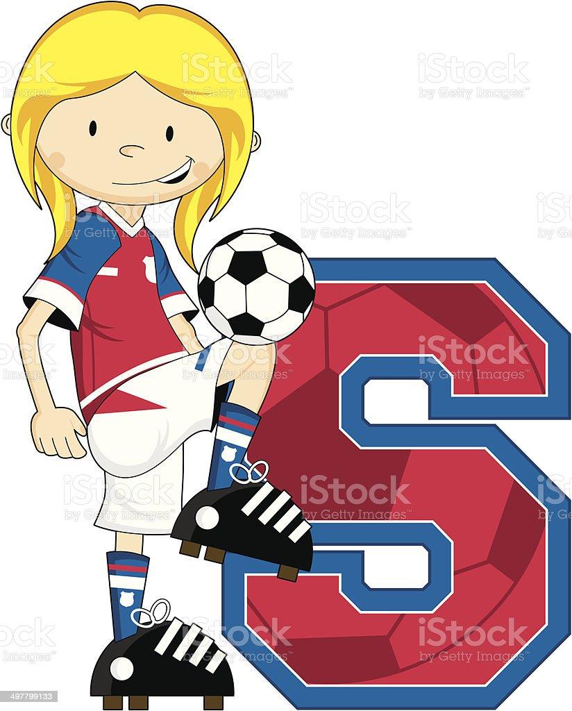 Soccer Football Girl Learning Letter S royalty-free stock vector art