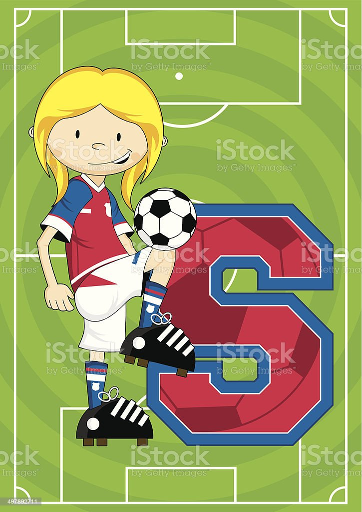 Soccer Football Girl Learning Letter S royalty-free stock vector art