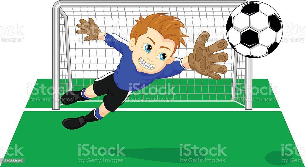 Soccer football goal keeper saving a goal vector art illustration
