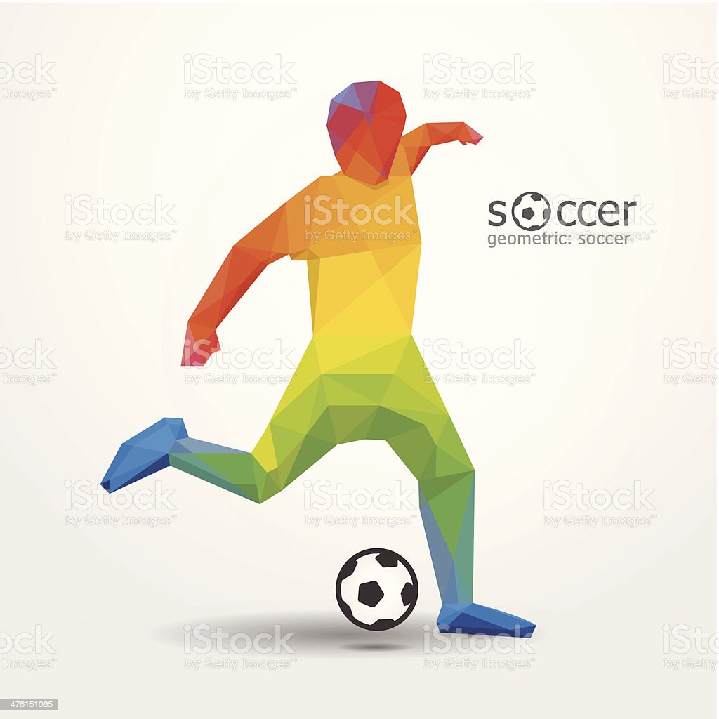 soccer football kick striker player geometric colour design. vector art illustration