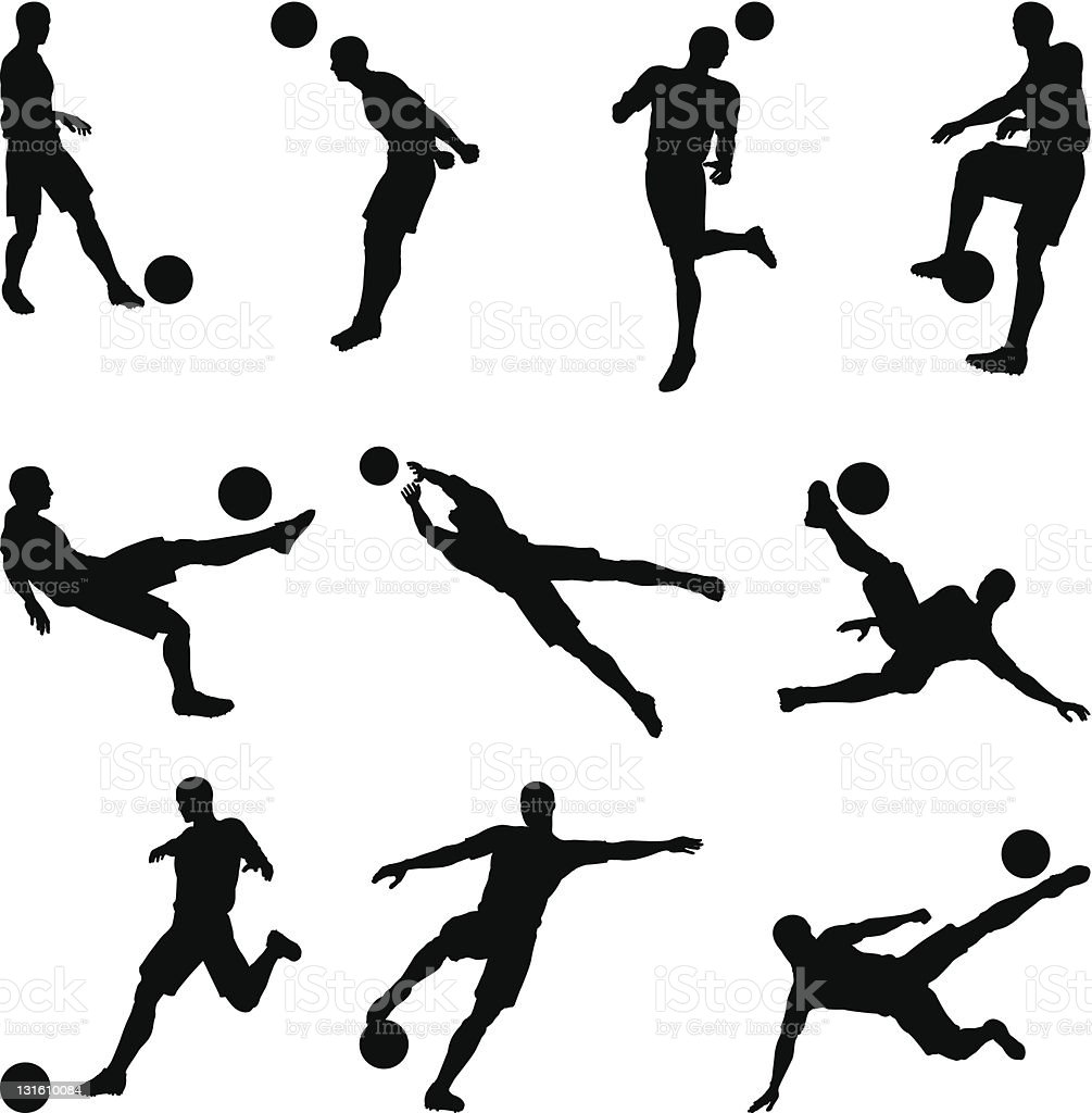 Soccer football player silhouettes vector art illustration