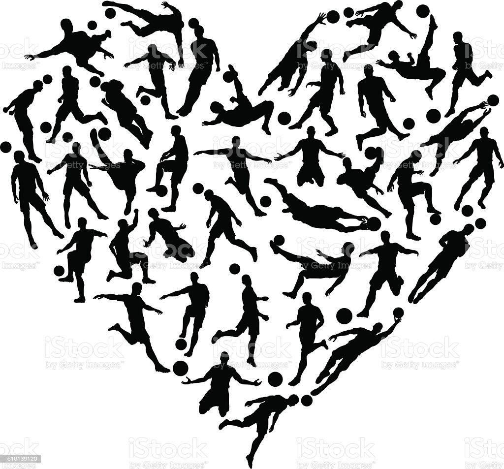 Soccer Football Silhouettes Heart vector art illustration