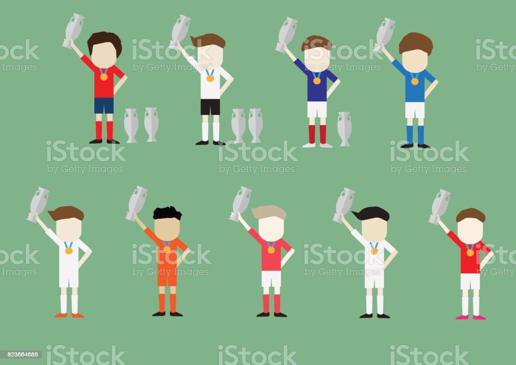 Soccer football team euro character vector design with trophy on hand vector art illustration