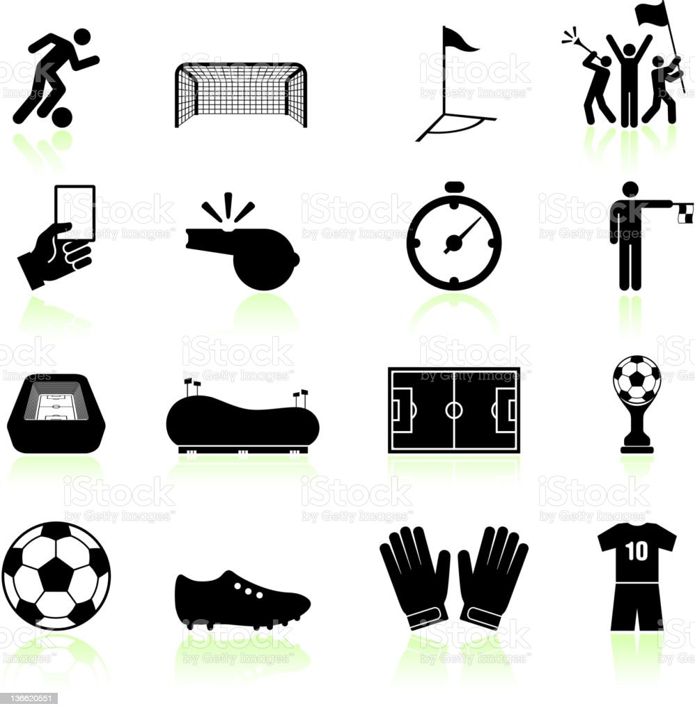 Soccer game black and white royalty free vector icon set vector art illustration