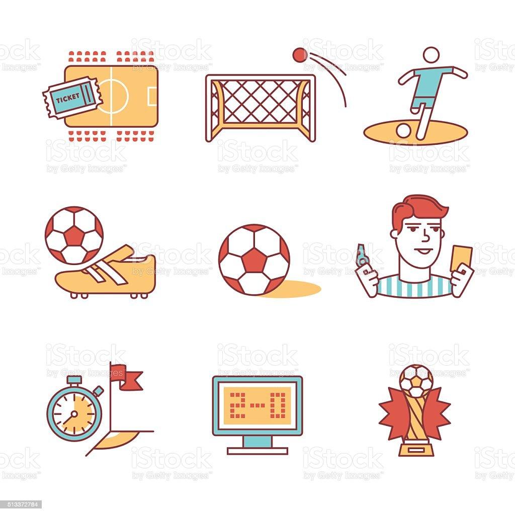 Soccer game signs set. Thin line art icons vector art illustration