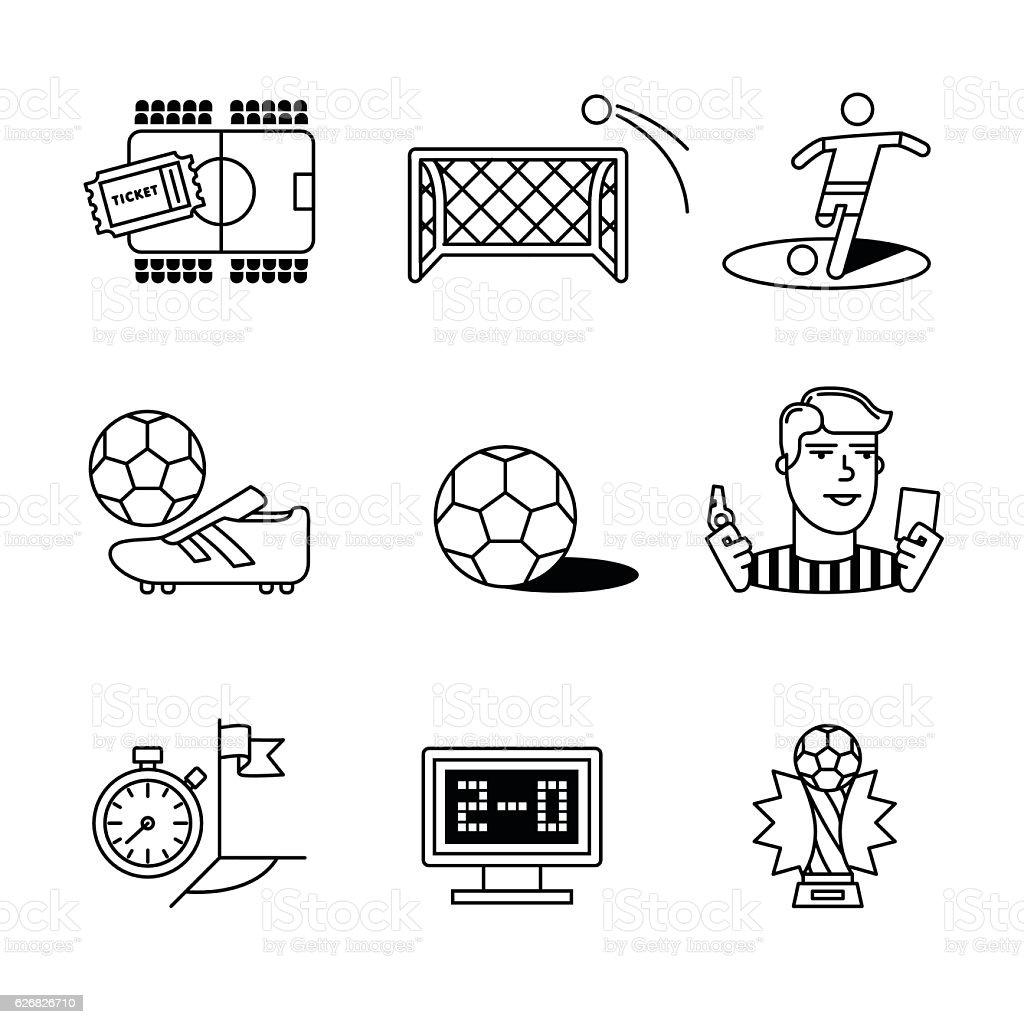 Soccer game signs set vector art illustration