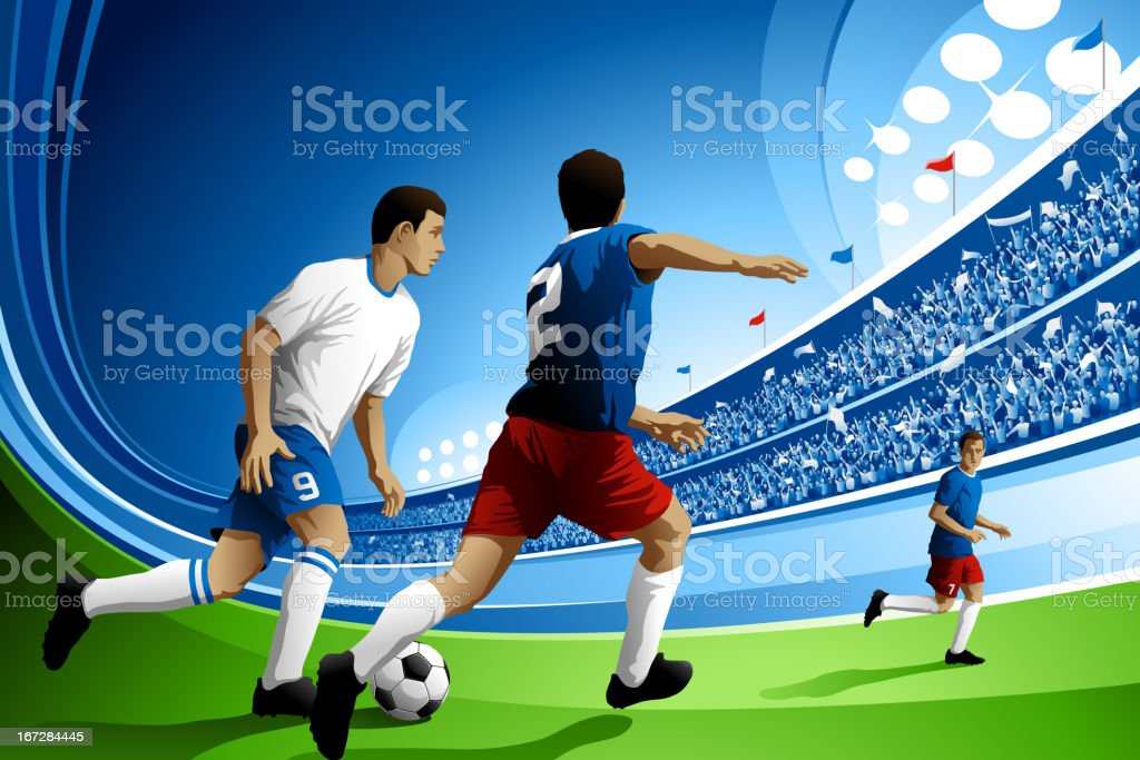 Soccer Game with Crowded Stadium royalty-free stock vector art