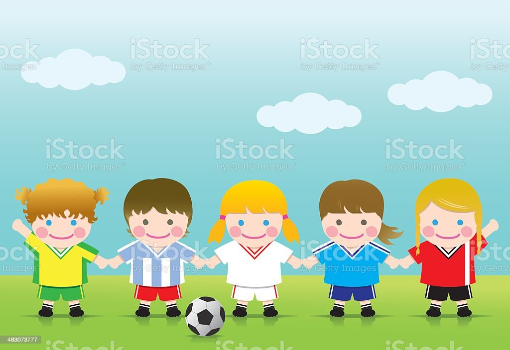 Soccer Girls League vector art illustration