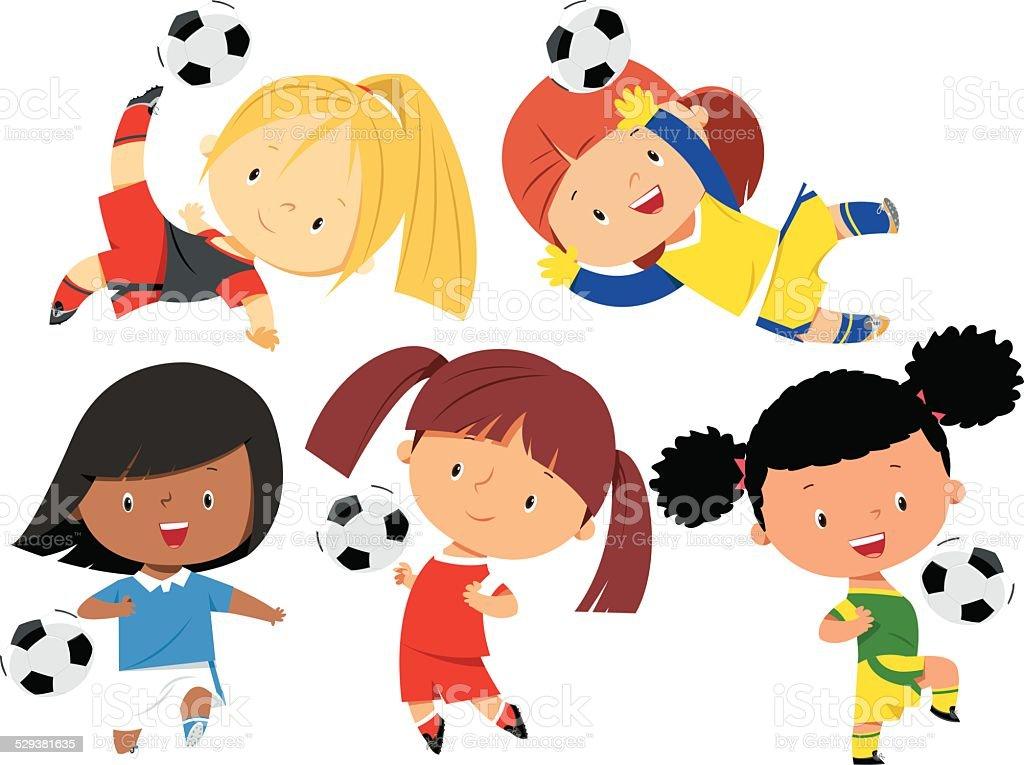 Soccer Girls vector art illustration