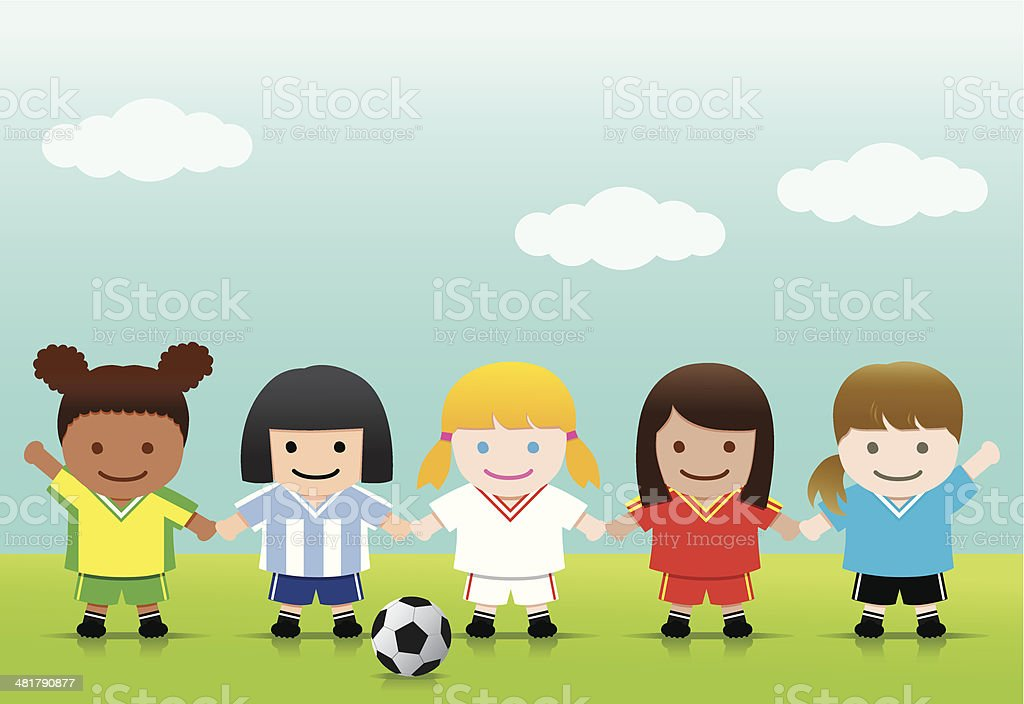 Soccer Girls World League royalty-free stock vector art