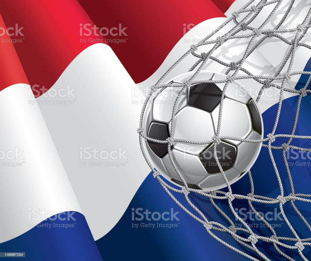 Soccer Goal on Netherlands flag royalty-free stock vector art
