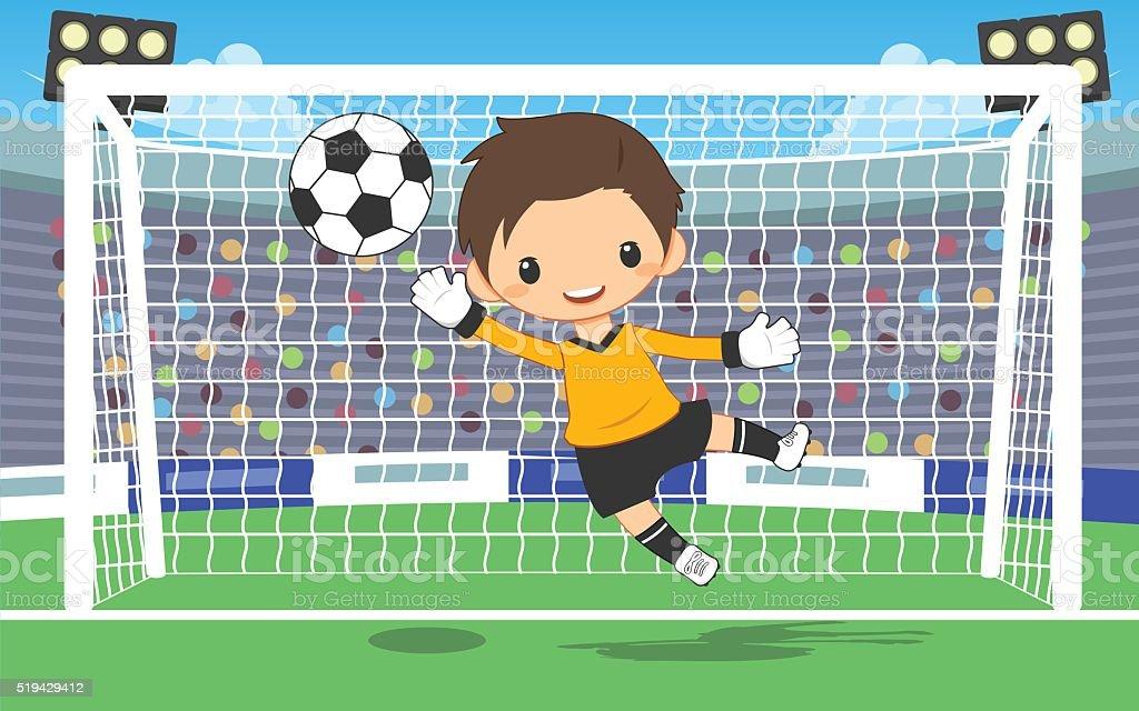 soccer goalkeeper at the gate vector art illustration