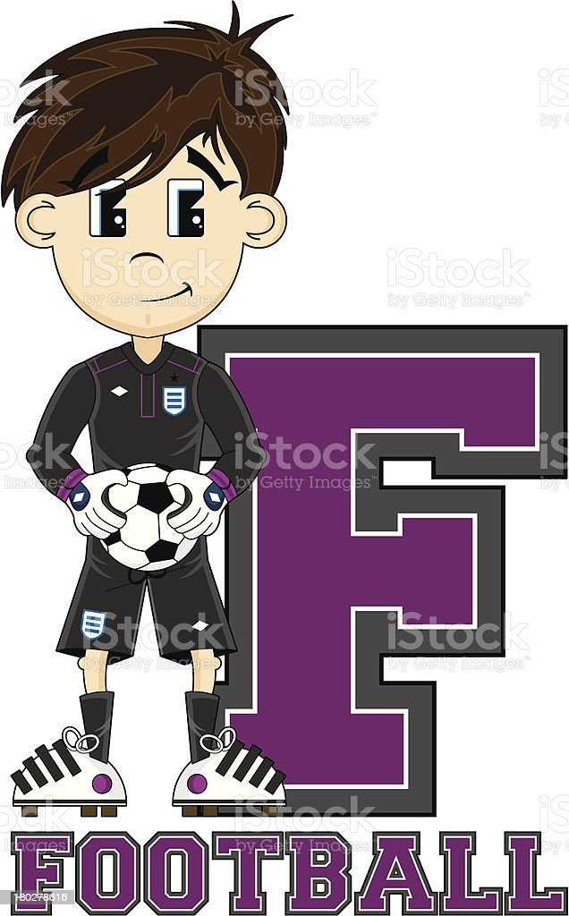 Soccer Goalkeeper Learning Letter F royalty-free stock vector art