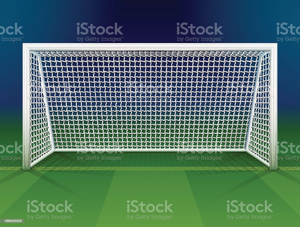 Soccer goalpost with net vector art illustration