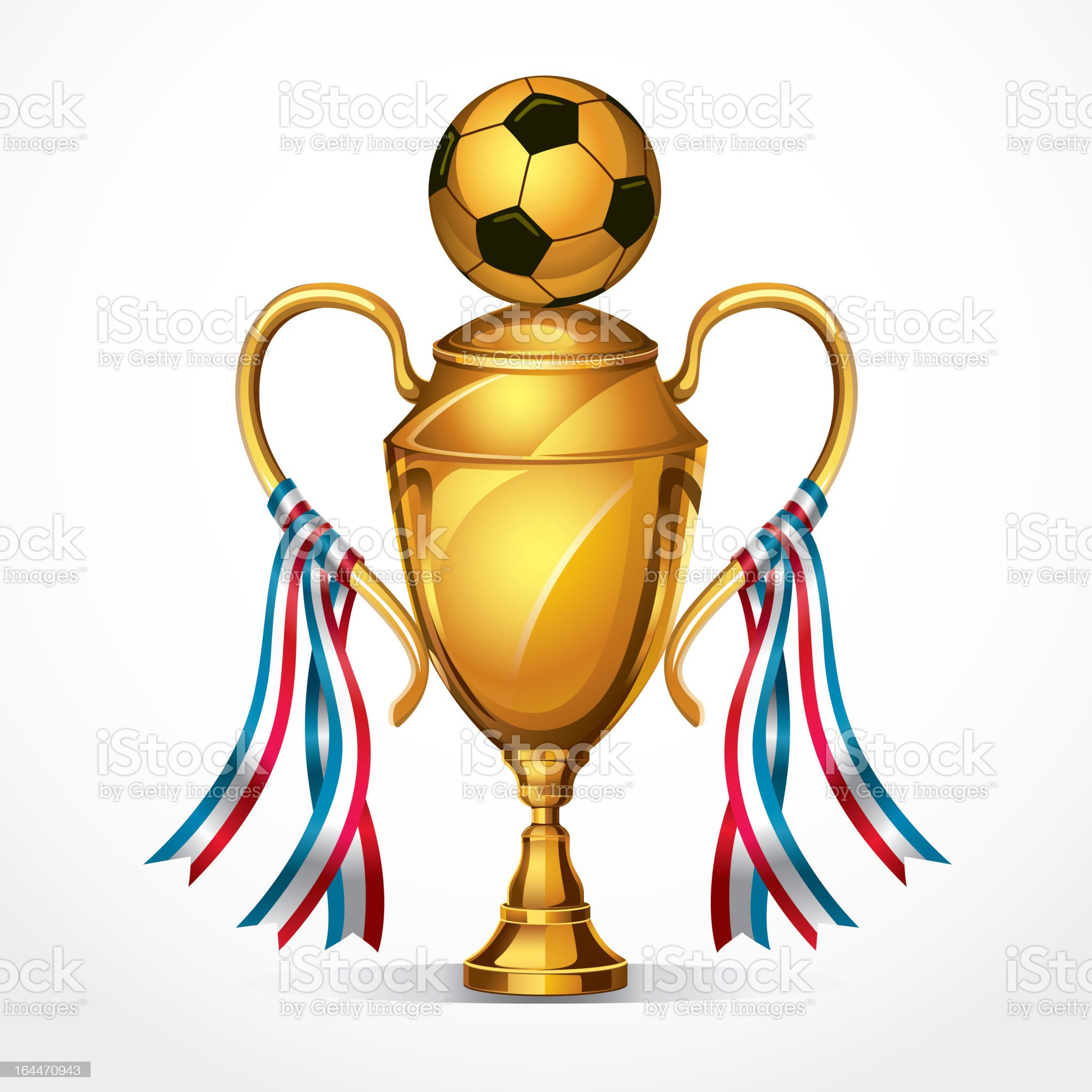Soccer Golden award trophy and ribbon. royalty-free stock vector art