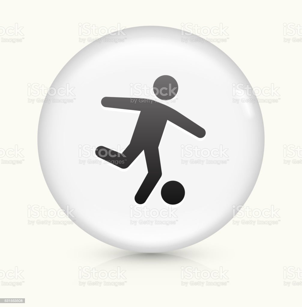 Soccer icon on white round vector button vector art illustration