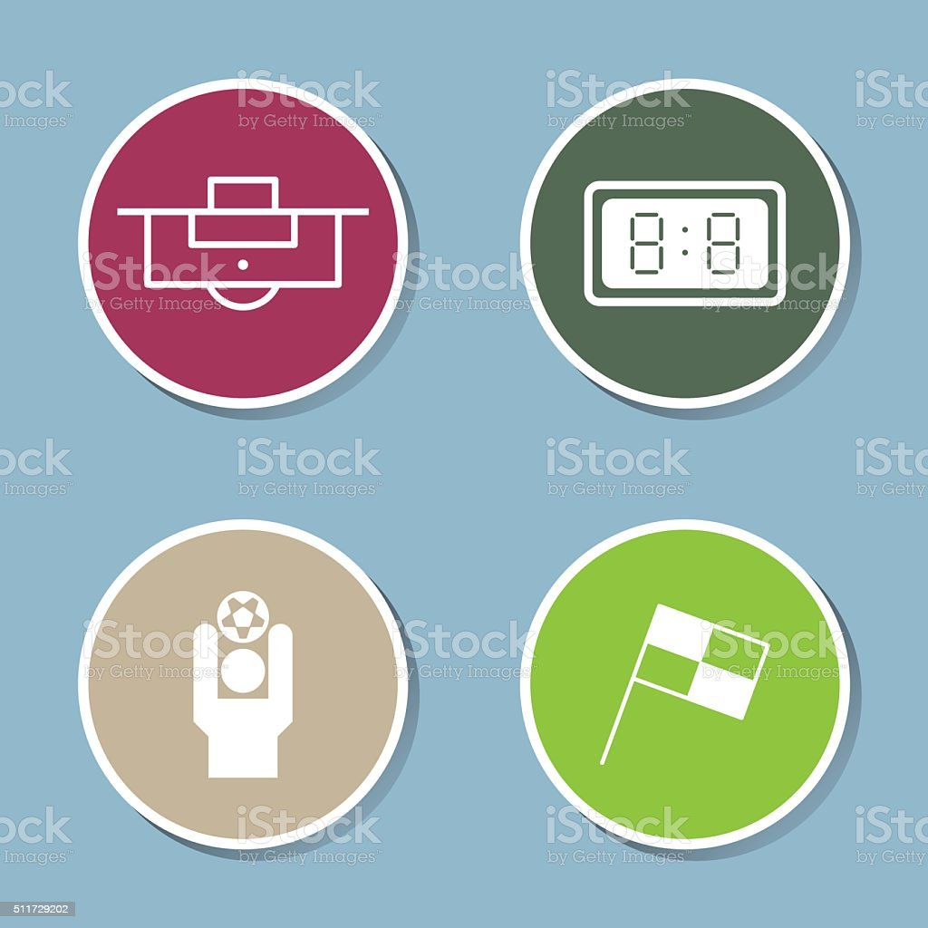 soccer icon set vector art illustration