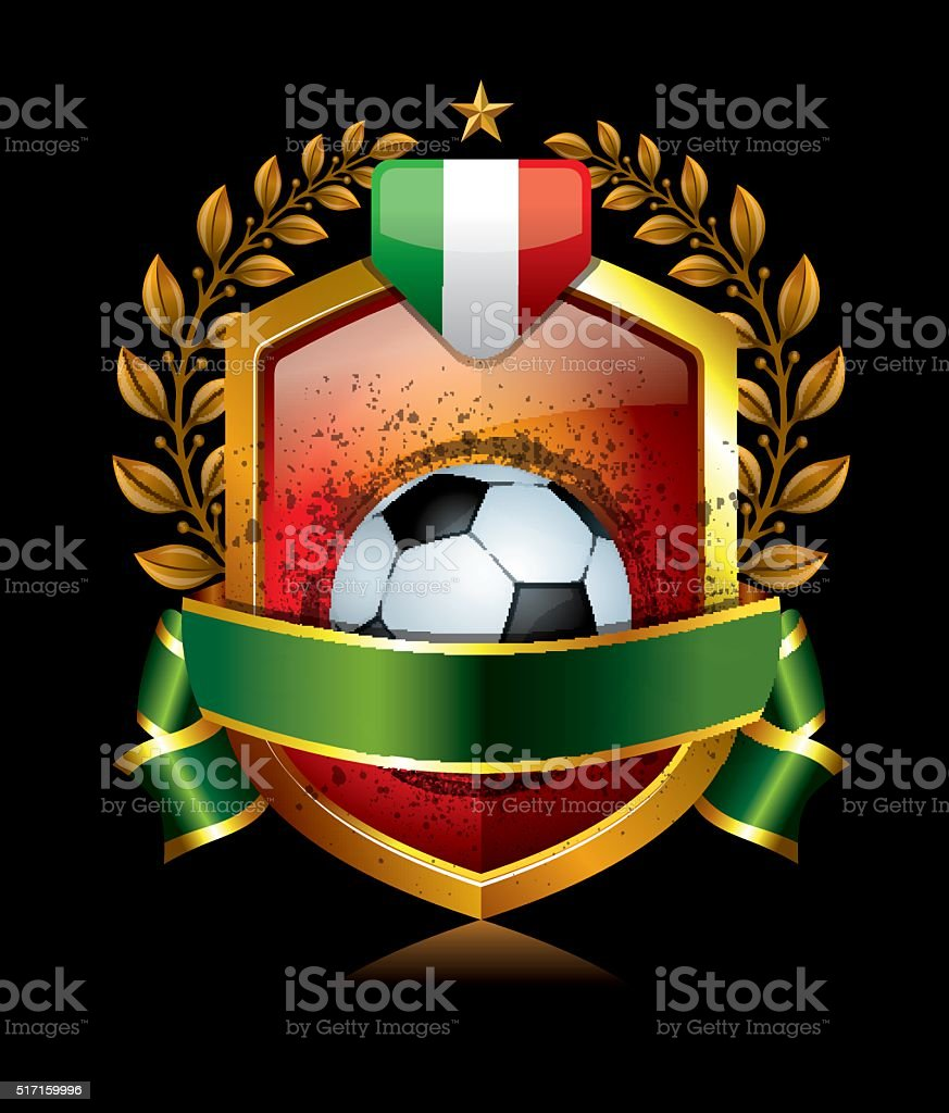 Soccer Icon with Italy Flag and Laurel Wreath vector art illustration