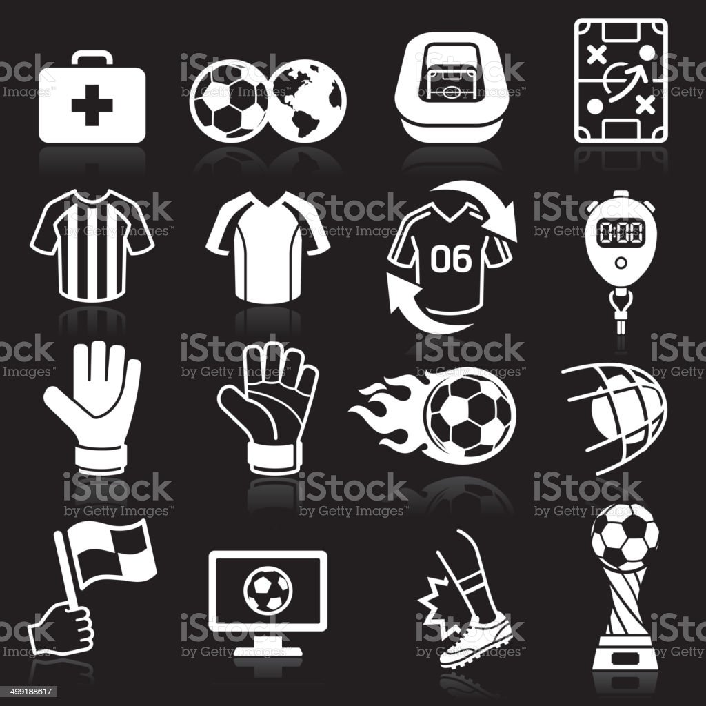 Soccer icons on black background. vector art illustration