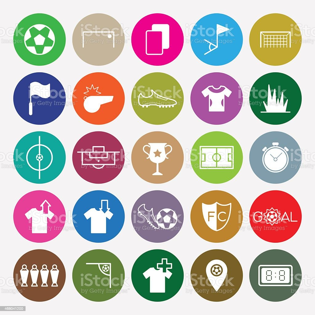 Soccer icons set circle vector illustration vector art illustration