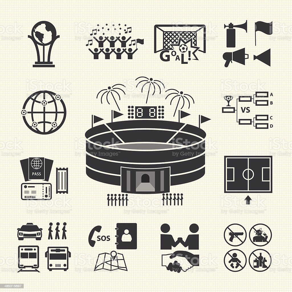 Soccer icons set, Fan club vector art illustration