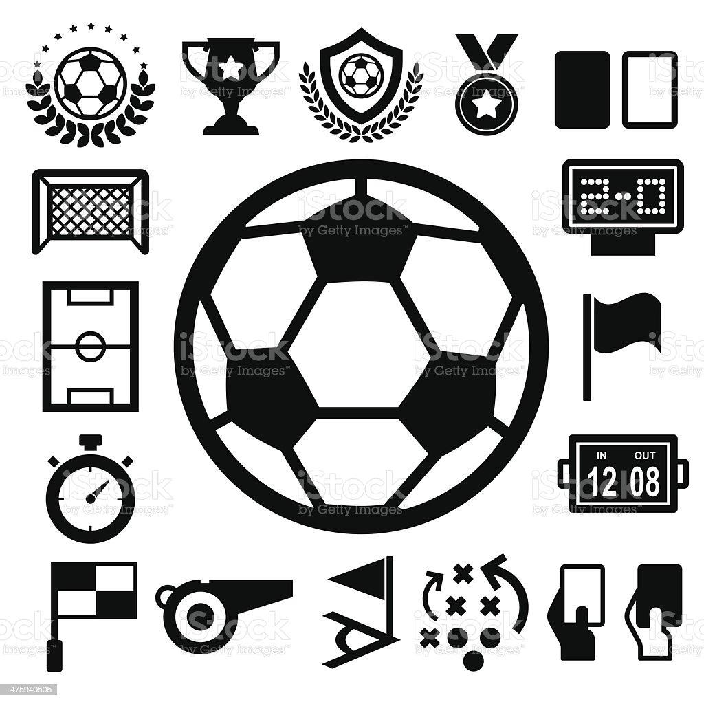 Soccer Icons set. vector art illustration
